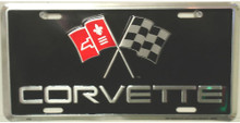 Corvette Crossed Flags Logo License Plate