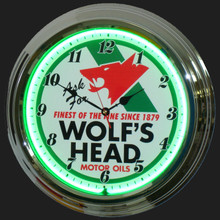 Wolf's Head Motor Oil Neon Clock