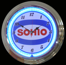 Sohio Oil & Gasoline Neon Clock