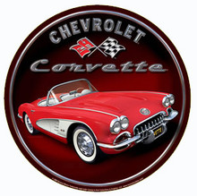Corvette Classic Car Round Sign