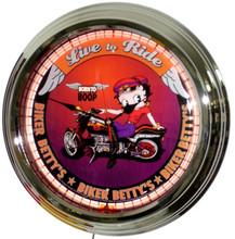 Betty Boop Biker Live To Ride Neon Clock