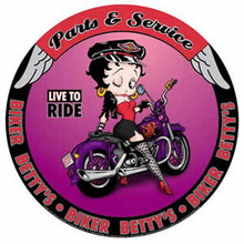 Betty Boop Biker Babe Round Metal Sign