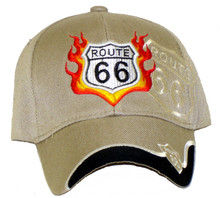 Route 66 Tan With Flames Embroidered Cap