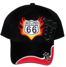 Route 66 Black With Flames Embroidered Cap