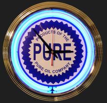 Pure Oil & Gasoline Neon Clock