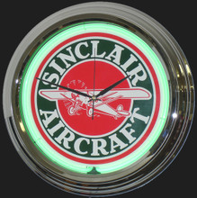 Sinclair Aircraft Gasoline Neon Clock