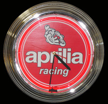 Aprilla Motorcycle Racing Neon Clock