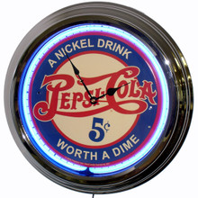 "Pepsi Cola ""A Nickle Drink"" Neon Clock"