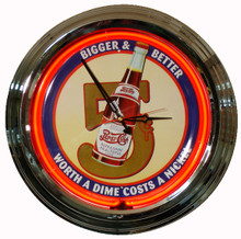 "Pepsi Cola ""Bigger & Better"" Neon Clock"