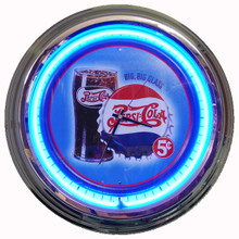 "Pepsi Cola ""Glass & Bottle Cap"" Neon Clock"