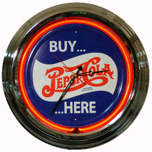 "Pepsi Cola ""Buy Here"" Neon Clock"