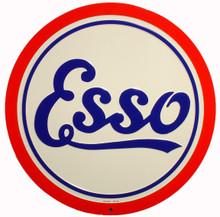 Esso Gasoline Round Metal Tin Sign