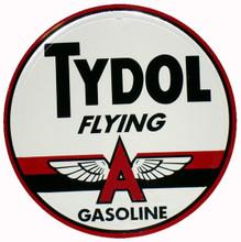 """Tydol """"Flying A"""" Gasoline Round Metal Tin Sign"""