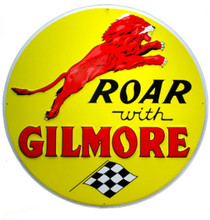 Gilmore Gasoline Round Metal Tin Sign