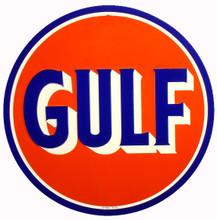 Gulf Oil Gasoline Round Metal Tin Sign
