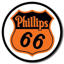 Phillips 66 Gasoline Round Metal Tin Sign