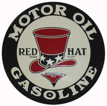 Red Hat Gasoline Round Metal Tin Sign