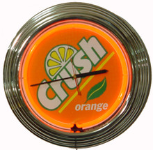Orange Crush Soda Neon Clock
