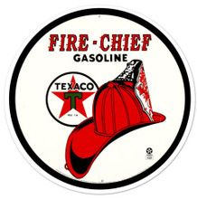 Texaco Fire Chief Gasoline Round Metal Tin Sign