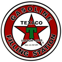 Texaco Gasoline Filling Station Round Metal Tin Sign