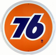 Union 76 Gasoline Round Metal Tin Sign