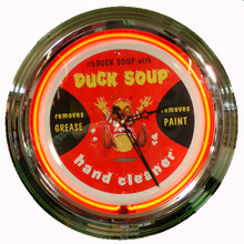Duck Soup Hand Cleaner Neon Clock