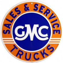 GMC Trucks Sales & Service Round Tin Sign