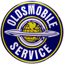 Oldsmobile Service Round Tin Sign