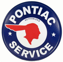 Pontiac Authorized Service Round Tin Sign