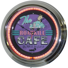 Road Kill Cafe Neon Clock