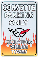 Corvette Parking Only Tin Sign
