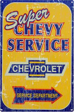 "Chevy Super Service ""Distressed Look"" Tin Sign"