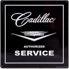 Cadillac Service Black Face Tin Sign