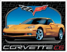 Corvette C6 Yellow Car Tin Sign
