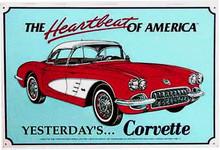 "Corvette ""The Heartbeat Of America"" Tin Sign"