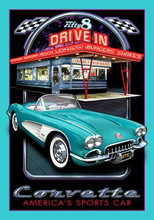 Corvette Vintage Drive In Tin Sign