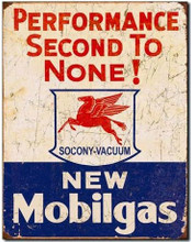 "Mobilgas Performance ""Distressed look"" Tin Sign"