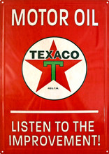 Texaco Motor Oil Red Tin Sign