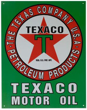 Texaco Motor Oil Tin Sign