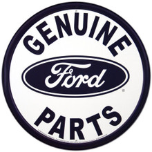 Ford Genuine Parts White Face Round Tin Sign