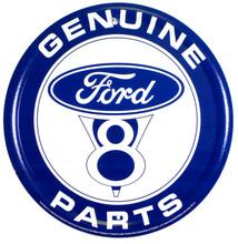 Ford V8 Genuine Parts Round Tin Sign