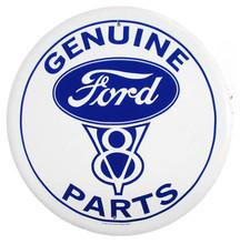 Ford V8 Genuine Parts White Face Round Tin Sign