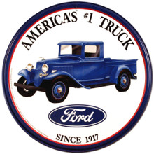 "Ford Trucks ""America's #1"" Round Tin Sign"