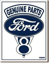 Ford V8 Genuine Parts White Face Tin Sign