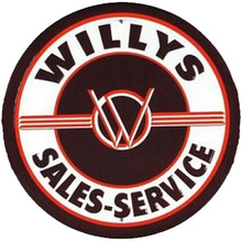 Willys Sales & Service Round Tin Sign