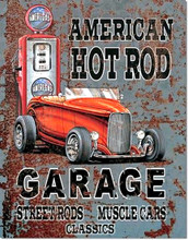 "American Hot Rod Garage ""Distressed Look"" Tin Sign"