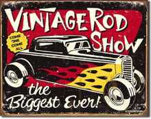 "Vintage Rod Show ""Distressed Look"" Tin Sign"