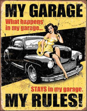 """My Garage - My Rules Classic """"Distressed Look"""" Tin Sign"""