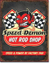"Speed Demon Hot Rod Shop ""Distressed Look"" Tin Sign"