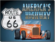 "Route US 66 ""America's Highway"" Tin Sign"